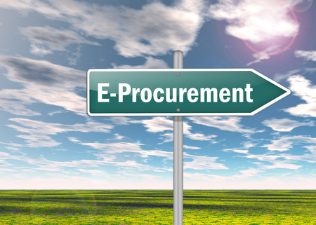 Signpost with E-Procurement related tags photo
