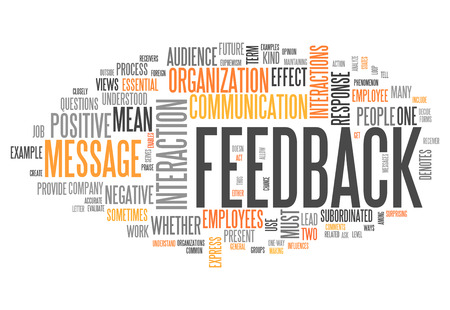 Word Cloud with Feedback wording Standard-Bild
