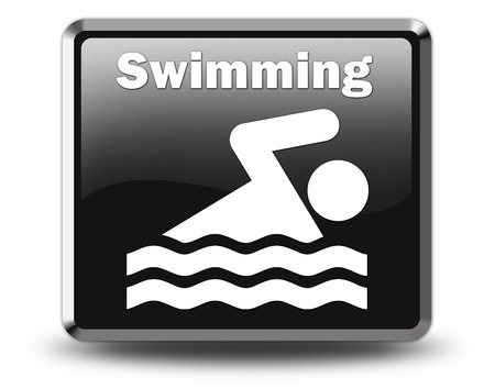 healty: Icon, Button, Pictogram with Swimming symbol