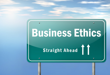 business ethics: Highway Signpost with Business Ethics wording