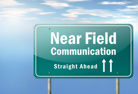 Highway Signpost with Near Field Communication wording photo