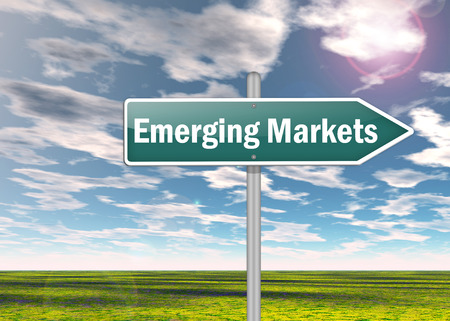 emerging markets: Signpost with Emerging Markets wording Stock Photo