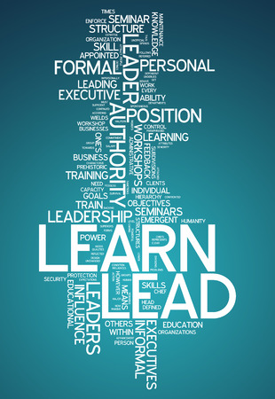 career coach: Word Cloud with Learn and Lead related tags Stock Photo