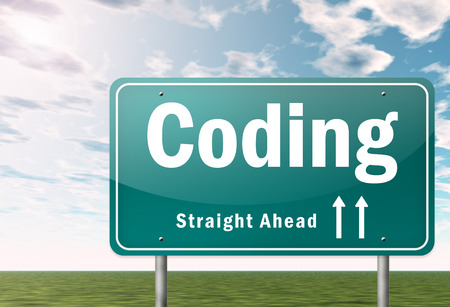 Highway Signpost with Coding wording