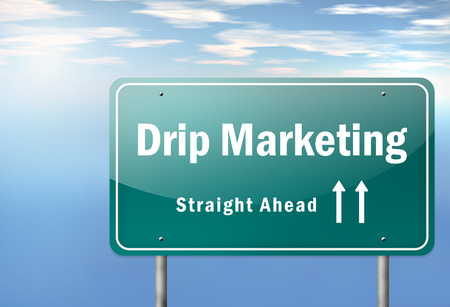 marketer: Highway Signpost with Drip Marketing wording