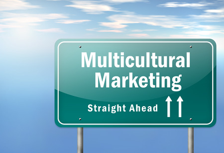 immigrant: Highway Signpost with Multicultural Marketing wording