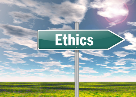 ethos: Signpost with Ethics wording Stock Photo