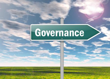 gobierno corporativo: Poste indicador con la redacci�n de Gobierno