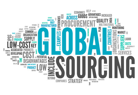 Word Cloud with Global Sourcing related tags 版權商用圖片 - 26754681