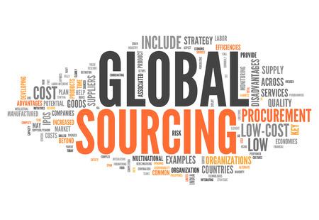 Word Cloud avec Global Sourcing balises liées Banque d'images - 26754682