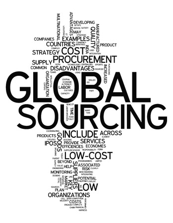 Word Cloud with Global Sourcing related tags photo