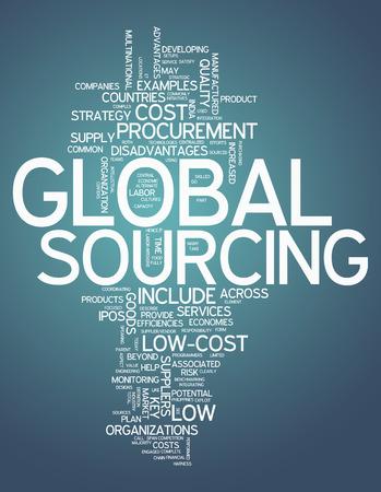 グローバル ソーシングと Word のクラウド関連タグ 写真素材