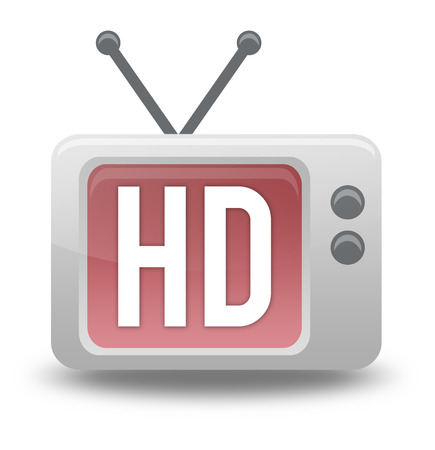 high def: Cartoon-style TV Icon with HD TV wording Stock Photo