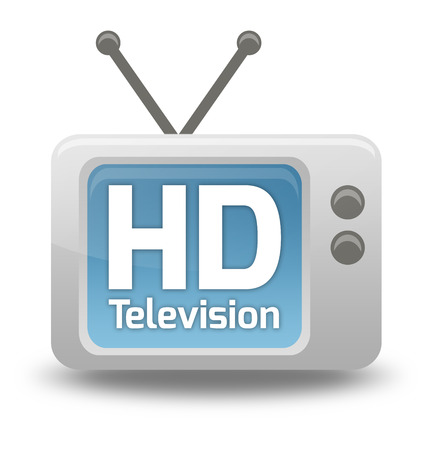 wording: Cartoon-style TV Icon with HD TV wording Stock Photo
