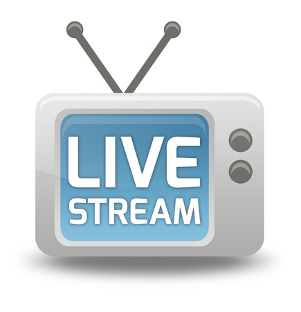 TV Icône de bande dessinée de style avec Live libellé Stream Banque d'images - 26812535