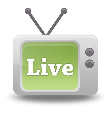 TV Cartoon Icône de style avec Live libellé Stream Banque d'images - 26812538