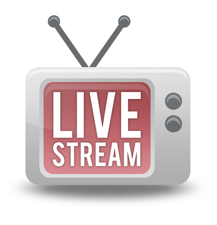 Cartoon-style TV Icon with Live Stream wording