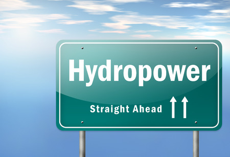 watermill: Highway Signpost with Hydropower wording