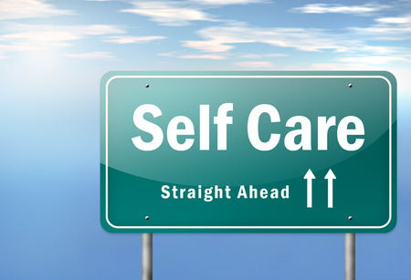 avoiding: Highway Signpost with Self Care wording Stock Photo
