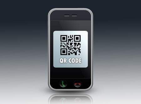 ticketing: Smartphone with QR Code wording