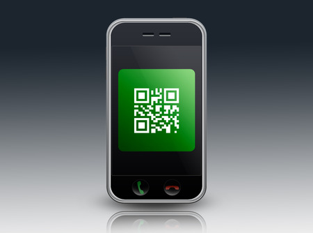 quick response: Smartphone with QR Code wording
