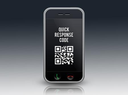 Smartphone with QR Code wording photo