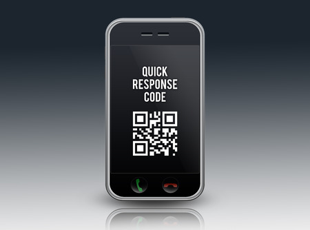 quick response code: Smartphone with QR Code wording