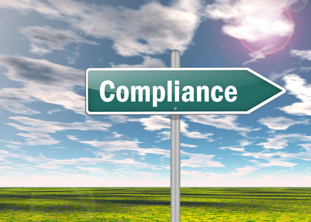 regulatory: Signpost with Compliance wording