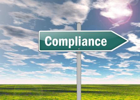 Wegweiser mit Compliance-Formulierung