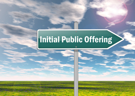 public offering: Signpost with Initial Public Offering wording Stock Photo