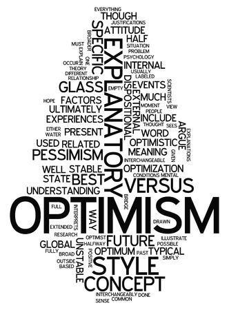 Word Cloud with Optimism related tags Stock Photo