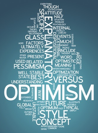 optimism: Word Cloud with Optimism related tags Stock Photo