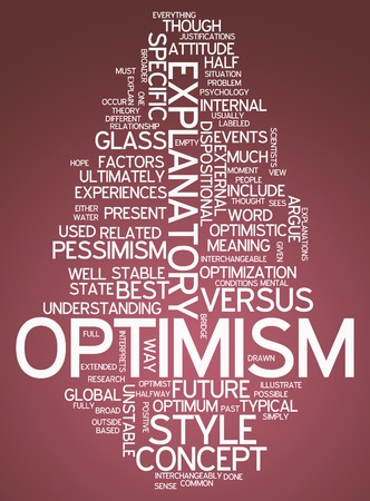 glass half full: Word Cloud with Optimism related tags Stock Photo