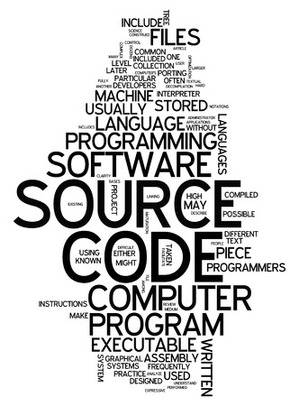Word Cloud with Source Code related tags photo