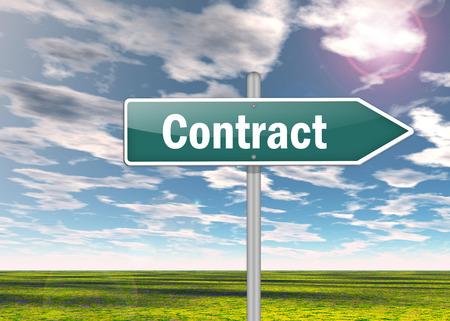 tratados: Poste indicador con la redacci�n de contratos Foto de archivo