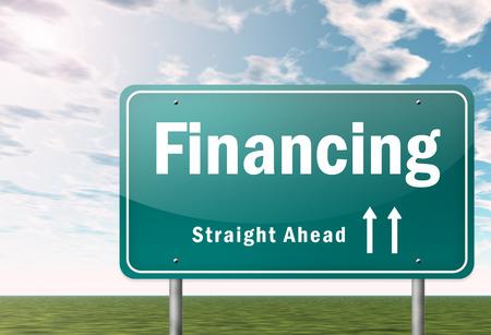 financing: Highway Signpost with Financing wording