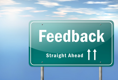 feed back: Highway Signpost with Feedback wording