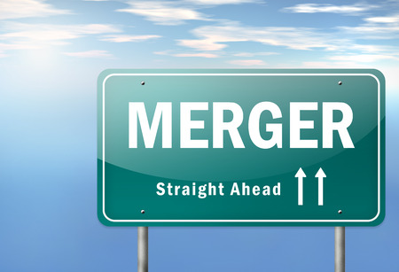 Highway Signpost with Merger wording photo