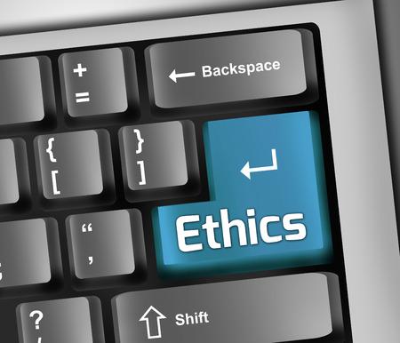 ethos: Keyboard Illustration with Ethics wording