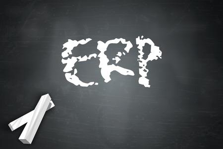 erp: Blackboard with ERP wording