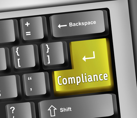 regulatory: Keyboard Illustration with Compliance wording