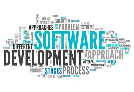 Word Cloud avec inhérentes à la conception des étiquettes de logiciels Banque d'images - 26917332