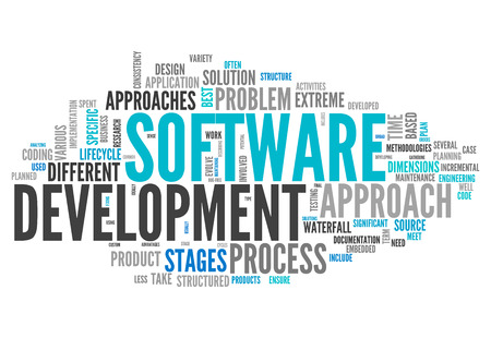 Word Cloud with Software Design related tags Archivio Fotografico