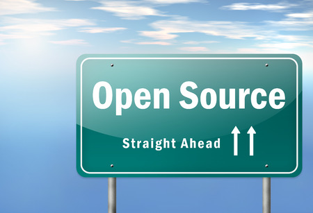 open source: Highway Signpost with Open Source wording Stock Photo