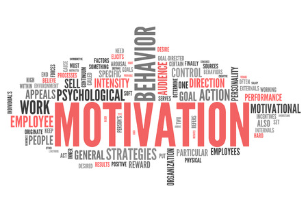 keen: Word Cloud with Motivation related tags Stock Photo