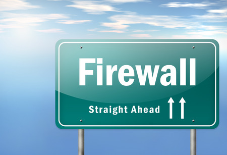proxy: Highway Signpost with Firewall wording