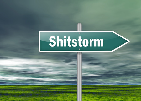 blogosphere: Signpost with Shitstorm wording Stock Photo