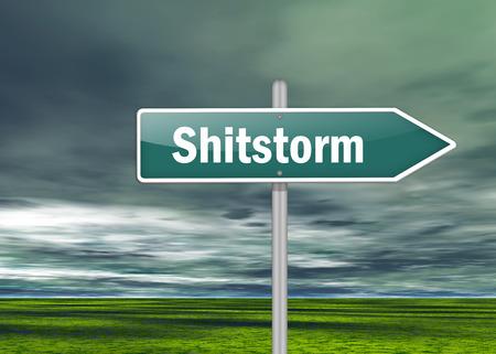 Wegweiser mit Shitstorm Wortlaut Lizenzfreie Bilder