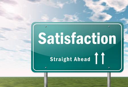 balanced scorecard: Highway Signpost with Satisfaction wording Stock Photo