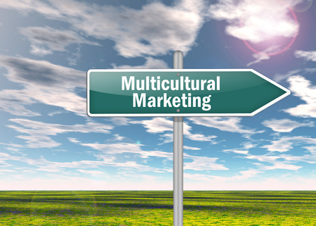 subcultures: Signpost with Multicultural Marketing wording Stock Photo
